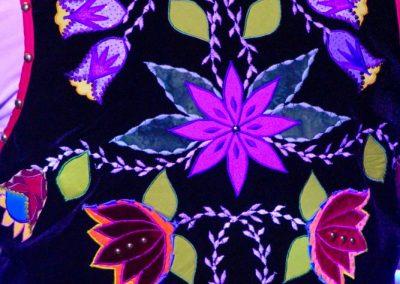 Back of vest with floral pattern details