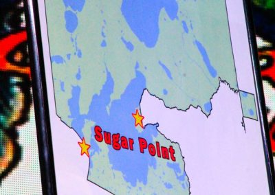 image of map that has pin on Sugar Point