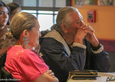 man and woman listening to Miss Indian World speak