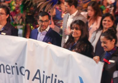 Americans Airlines employees holding up banner