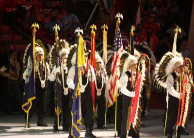 men holding flags