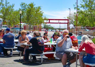 people eating at Blake's Lotaburger stand