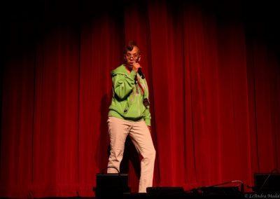 woman on stage talking