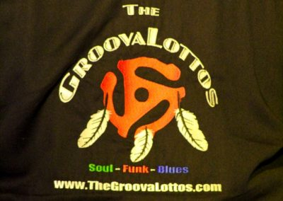 The Groovalottos logo on jacket