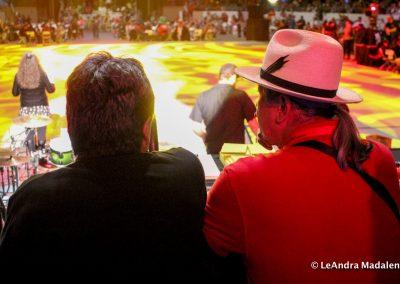 men in crowd