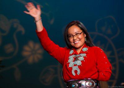 woman waving