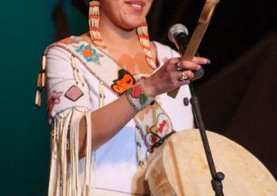 woman playing drum