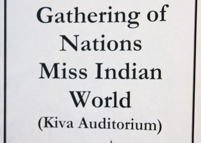 Gathering of Nations Miss Indian World sign