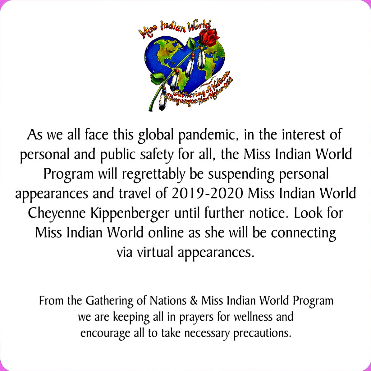 Miss Indian World Official Statement